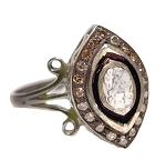 Antique Style Rings 0.8 Ct Natural Certified Diamond 925 Sterling Silver Festive