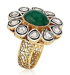 Victorian Style Rings 1 Ct Natural Certified Diamond 1.5 Ct Emerald 925 Sterling Silver Special Occasion
