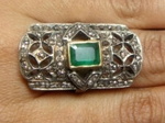 Victorian Antique Engagement Rings 2.15 Ct Natural Certified Diamond 1 Ct Emerald 925 Sterling Silver Weekend