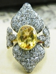 Victorian Engagement Rings 1.76 Ct Natural Certified Diamond 1.5 Ct Yellow Topaz 925 Sterling Silver Weekend