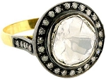 Victorian Wedding Rings 1.04 Ct Natural Certified Diamond 925 Sterling Silver Vacation
