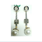 Vintage Drop Earrings 1.75 Ct Natural Certified Diamond 4 Ct Pearl 925 Sterling Silver Wedding