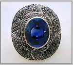 Victorian Diamond Ring 1.5 Ct Natural Certified Diamond 1.5 Ct Blue Sapphire 925 Sterling Silver Wedding