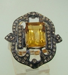 Victorian Style Rings 1.4 Ct Natural Certified Diamond 1.8 Ct Yellow Topaz 925 Sterling Silver Special Occasion