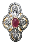 Victorian Rings For Sale 1.56 Ct Natural Certified Diamond 1 Ct Ruby 925 Sterling Silver Wedding