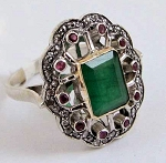 Antique Style Engagement Rings 1 Ct Natural Certified Diamond 1.6 Ct Ruby Emerald 925 Sterling Silver Party