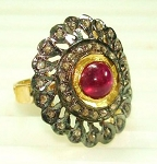 Vintage Art Deco Engagement Rings 1 Ct Natural Certified Diamond 1 Ct Ruby 925 Sterling Silver Anniversary