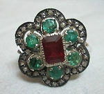 Art Deco Diamond Engagement Rings 0.75 Ct Natural Certified Diamond 2 Ct Ruby Emerald 925 Sterling Silver Weekend