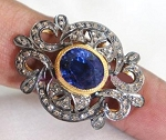 Victorian Antique Engagement Rings 1.18 Ct Natural Certified Diamond 1.6 Ct Blue Sapphire 925 Sterling Silver Weekend
