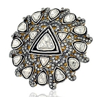 Victorian Rings 4.01 Ct Natural Certified Diamond 925 Sterling Silver Festive