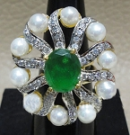 Victorian Diamond Ring 1.2 Ct Natural Certified Diamond 3.5 Ct Emerald Pearl 925 Sterling Silver Wedding