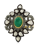 Antique Style Rings 2.2 Ct Natural Certified Diamond 1.6 Ct Emerald 925 Sterling Silver Festive