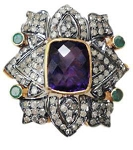 Antique Looking Wedding Rings 2 Ct Natural Certified Diamond 2.2 Ct Amethyst Emerald 925 Sterling Silver Everyday