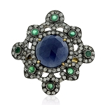Polki Rings 1.65 Ct Natural Certified Diamond 2.4 Ct Emerrald Blue Sapphire 925 Sterling Silver Anniversary