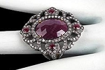 Uncut Ring 1.35 Ct Natural Certified Diamond 3 Ct Ruby 925 Sterling Silver Wedding