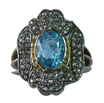 Victorian Engagement Rings 1.4 Ct Natural Certified Diamond 2.3 Ct Topaz 925 Sterling Silver Weekend