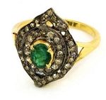 Vintage Art Deco Engagement Rings 1 Ct Natural Certified Diamond 1 Ct Emerald 925 Sterling Silver Anniversary
