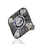 Antique Diamond Wedding Rings 1.53 Ct Natural Certified Diamond 925 Sterling Silver Vacation