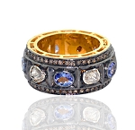 Antique Wedding Ring 2.3 Ct Natural Certified Diamond 0.3 Ct Blue Sapphire 925 Sterling Silver Engagement
