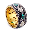 Antique Style Rings 2.3 Ct Natural Certified Diamond 0.3 Ct Emerald 925 Sterling Silver Festive