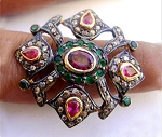Vintage Art Deco Rings 1 Ct Natural Certified Diamond 1.5 Ct Emerald Ruby 925 Sterling Silver Workwear