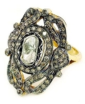 Victorian Style Wedding Rings 2 Ct Natural Certified Diamond 925 Sterling Silver Anniversary