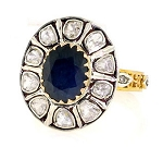 Antique Style Diamond Engagement Rings 1 Ct Natural Certified Diamond 2.5 Ct Blue Sapphire 925 Sterling Silver Workwear