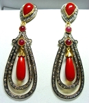 Antique Drop Earrings 5.1 Ct Natural Certified Diamond 5 Ct Coral Ruby 925 Sterling Silver Vacation