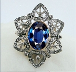 Vintage Art Deco Rings 1.6 Ct Natural Certified Diamond 2 Ct Blue Sapphire 925 Sterling Silver Workwear