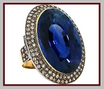 Victorian Style Engagement Rings 2.5 Ct Natural Certified Diamond 3 Ct Blue Sapphire 925 Sterling Silver Vacation