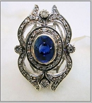 Victorian Style Rings 1.35 Ct Natural Certified Diamond 1 Ct Blue Sapphire 925 Sterling Silver Special Occasion