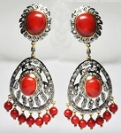 Rose Cut Earrings 3.6 Ct Natural Certified Diamond 6 Ct Coral 925 Sterling Silver Office Wear