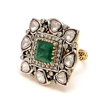 Antique Vintage Engagement Rings 1.2 Ct Natural Certified Diamond 1.3 Ct Emerald 925 Sterling Silver Festive