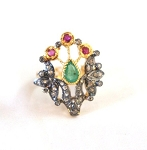 Victorian Rings For Sale 0.75 Ct Natural Certified Diamond 1 Ct Emerald Ruby 925 Sterling Silver Wedding