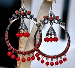 Antique Diamond Earrings 0.7 Ct Natural Certified Diamond 5 Ct Coral 925 Sterling Silver Wedding