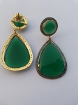 Vintage Diamond Earrings 2.7 Ct Natural Certified Diamond 12 Ct Emerald 925 Sterling Silver Festive