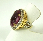 Victorian Wedding Rings 1.15 Ct Natural Certified Diamond 3 Ct Ruby 925 Sterling Silver Vacation