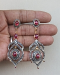 Vintage Drop Earrings 4.5 Ct Natural Certified Diamond 5 Ct Ruby 925 Sterling Silver Weekend