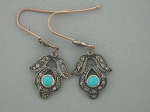 Victorian Diamond Earrings 0.7 Ct Natural Certified Diamond 2 Ct Turquoise 925 Sterling Silver Vacation