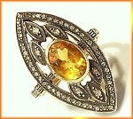 Vintage Art Deco Rings 1.4 Ct Natural Certified Diamond 1.2 Ct Topaz 925 Sterling Silver Workwear