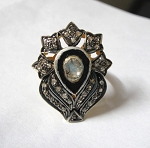 Victorian Style Rings 1.2 Ct Natural Certified Diamond 925 Sterling Silver Special Occasion