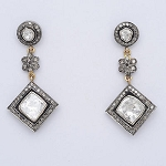 Polki Earrings 2.75 Ct Natural Certified Diamond 925 Sterling Silver Office Wear