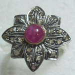Antique Style Engagement Rings 1 Ct Natural Certified Diamond 1 Ct Ruby 925 Sterling Silver Party