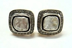 Antique Diamond Earrings 1.12 Ct Natural Certified Diamond 925 Sterling Silver Festive