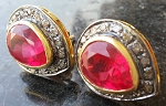 Vintage Drop Earrings 1.2 Ct Natural Certified Diamond 3 Ct Ruby 925 Sterling Silver Party