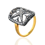 Victorian Diamond Ring 1.25 Ct Natural Certified Diamond 925 Sterling Silver Wedding