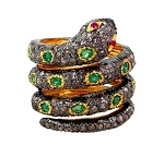 Antique Style Rings 2.65 Ct Natural Certified Diamond 2.1 Ct Emerald Ruby 925 Sterling Silver Festive