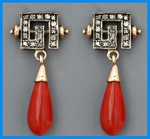 Victorian Drop Earrings 0.76 Ct Natural Certified Diamond 4 Ct Coral 925 Sterling Silver Vacation