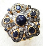 Victorian Rings For Sale 1.6 Ct Natural Certified Diamond 2.6 Ct Blue Sapphire Pearl 925 Sterling Silver Wedding