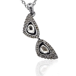 Vintage Pendants 0.6 Ct Natural Certified Diamond 925 Sterling Silver Vacation